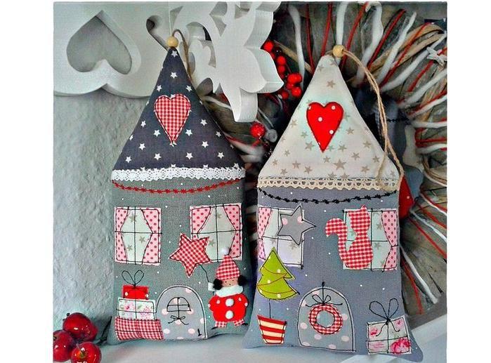 Christmas tree fabric decor | Украсим ёлку интересно! 50 идей ёлочных игрушек своими руками - Ярмарка Мастеров - ручная работа, handmade