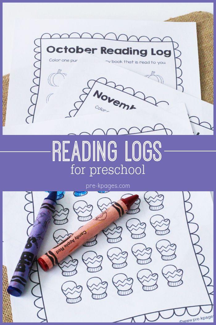Printable Reading Logs for Preschool and Kindergarten.