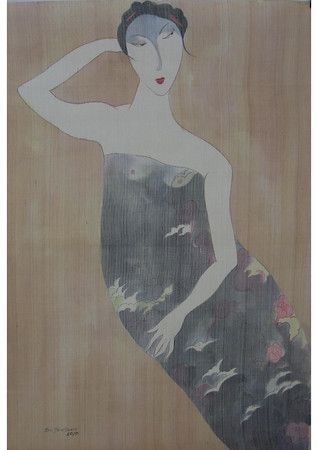 Artist - Bui Tien Tuan Title - Resting  Medium - Pen and Ink, Watercolor on Silk Dimensions - 62cm x 92cm Status - Private Collection - Singapore
