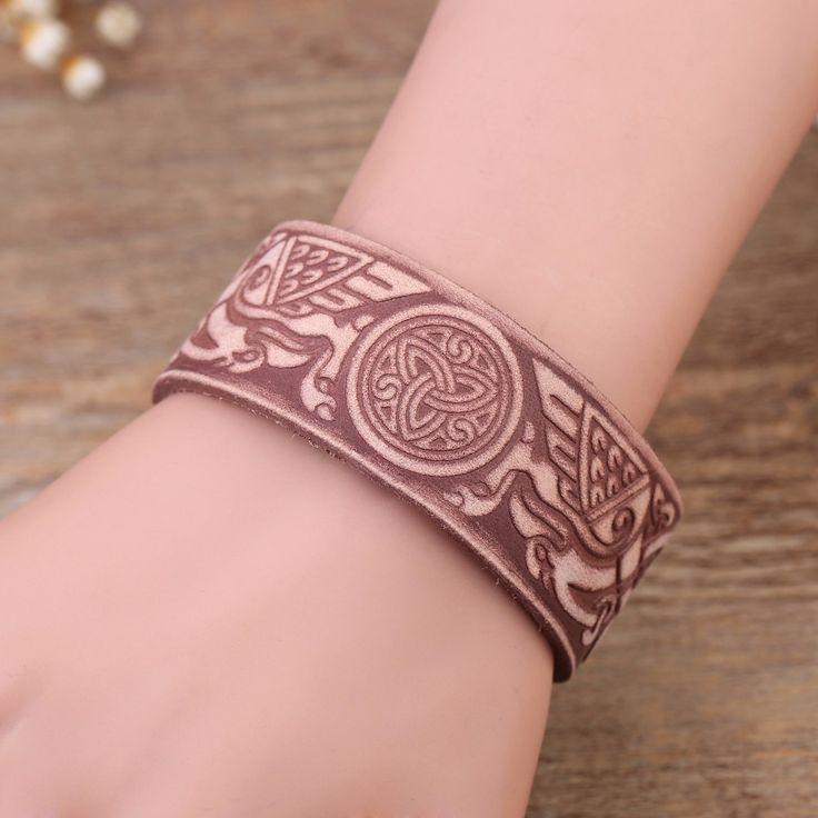 Lemegeton ручной работы Винтаж Дракон коготь знак кожаные манжеты браслеты двойной безопасной застежкой для мужчин Jewelry натуральная кожа браслеты купить на AliExpress