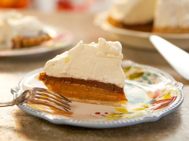 Chocolate Marshmallow Pumpkin Pie Recipe | Ree Drummond | Food Network - I want to try the fluff on a chocolate pie with graham cracker crust- like a s'more.