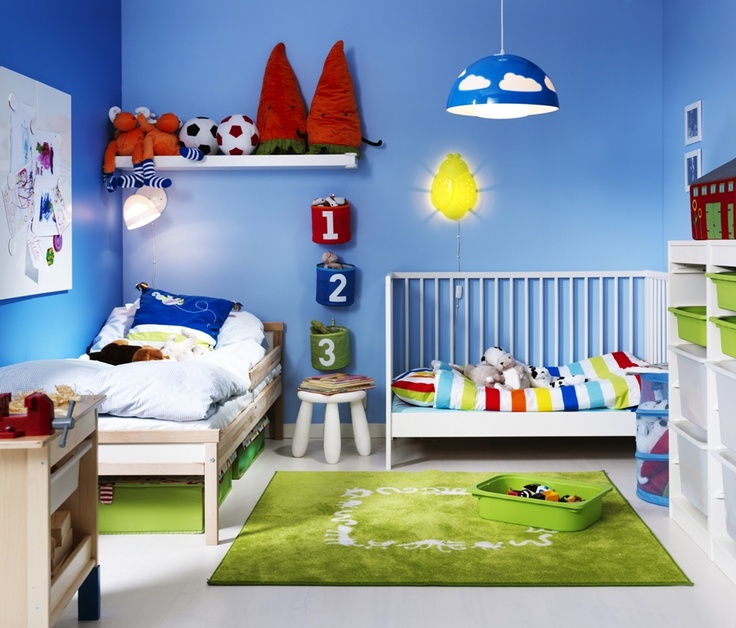 Cute Colorful Shared Kids Bedroom Ideas With Single Bed And Baby Nursery  Also Blue Wall Paint Ideas : Shared Boy And Girl Bedroom Ideas : Terrific  Shared ...