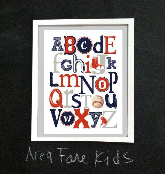 8 X 10 Boston RED SOX ABC Nursery Art Print by AreaFareKids, $15.00