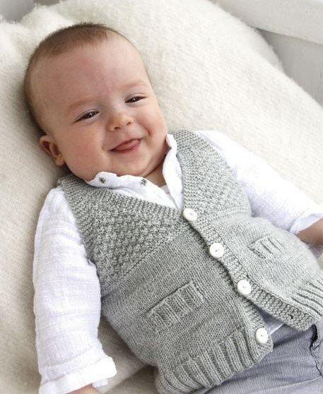 Free knitting pattern for Junior V-Neck baby vest - Size: 1/3 – 6/9 – 12/18…