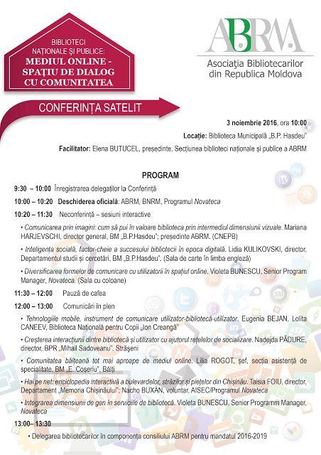 BiblioCity: Programul conferinței satelit: Mediul online - spa...