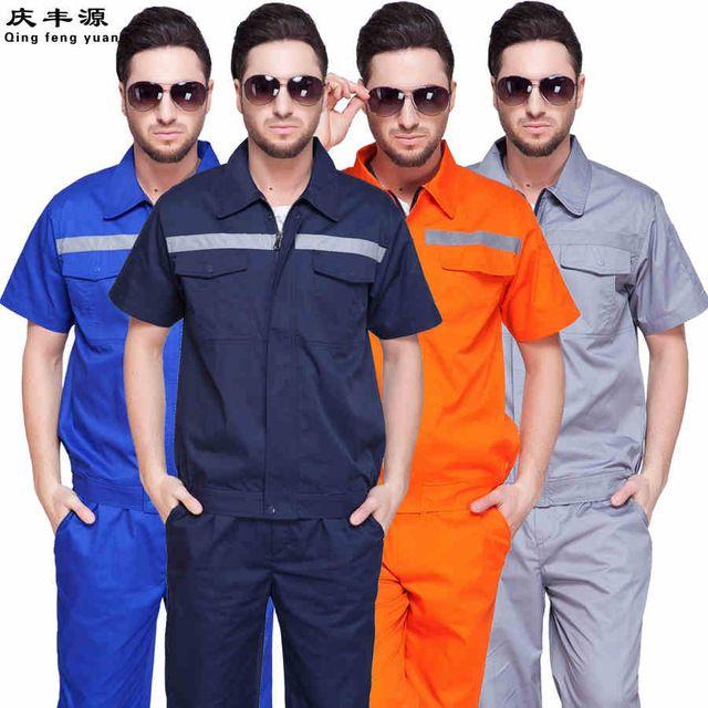 Working clothes Big Size Suit Sets Men Coveralls Working clothing Men Coveralls Worker Short Sleeve Uniform