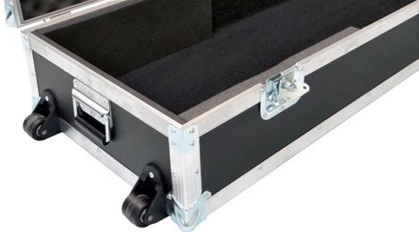Guitar Flight Case showing heavy duty wheels