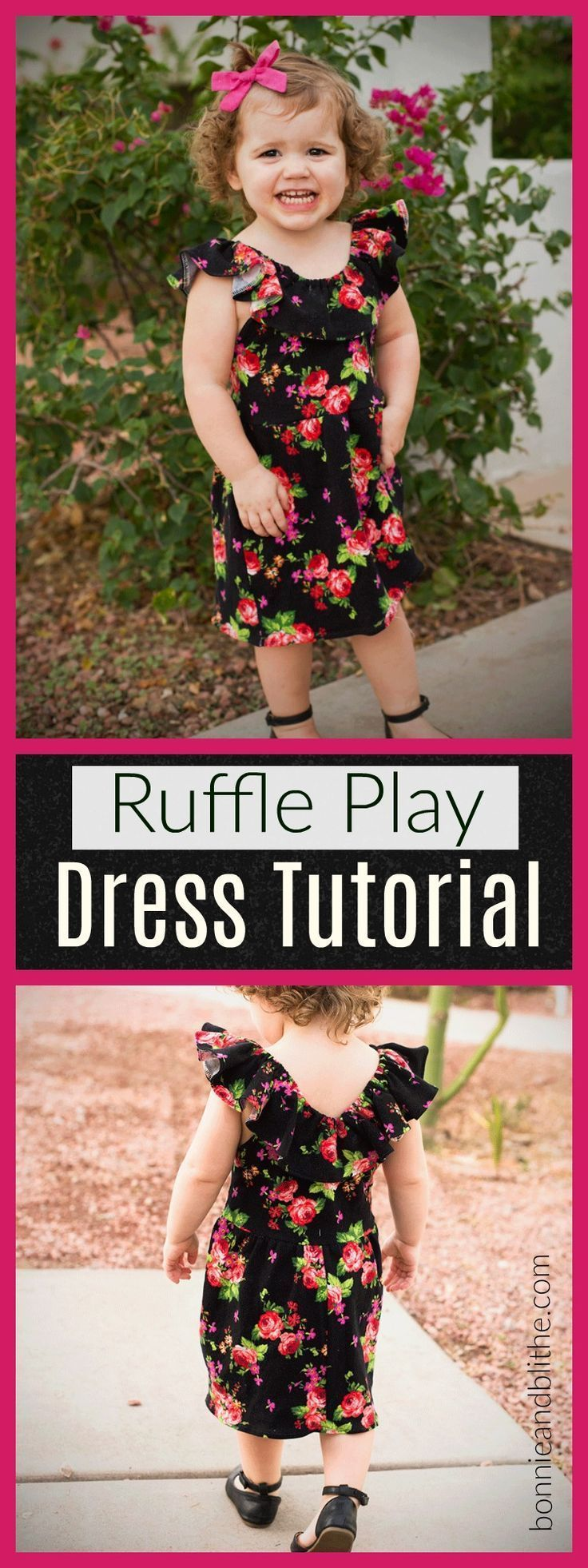 Get the free sewing pattern for a cute, knit ruffled play dress for a toddler! …