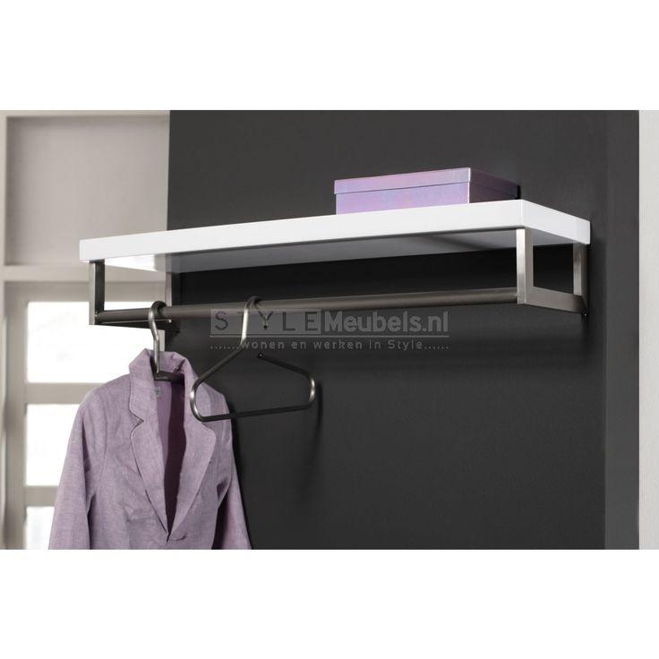 Voor in mijn wasruimte Design RVS garderobe kapstok Cher - Hoogglans WIt