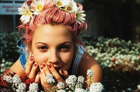 Drew Barrymore with pink hair in the 90s. Description from pinterest.com. I searched for this on bing.com/images
