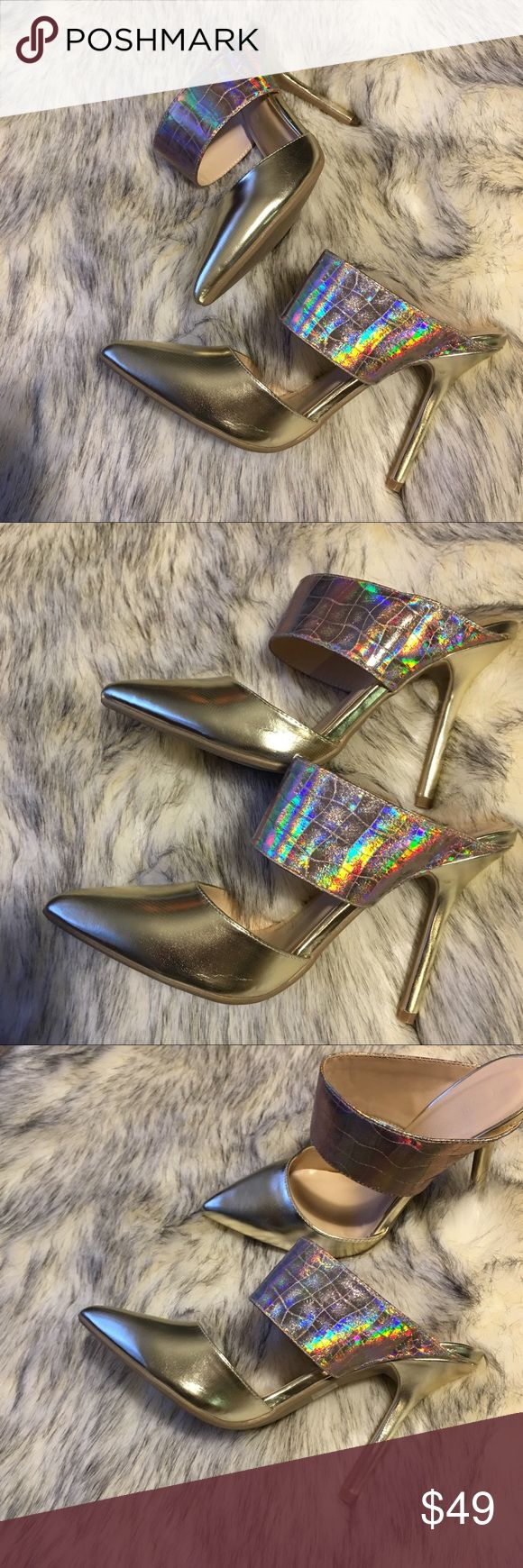 """Pointy toe stiletto pumps 👠 Grid print holographic vegan leather instep strap, lightly cushioned insole , wrapped stiletto heels and slip on style , height approx 4.6"""". New  without box , never worn Wild Diva Shoes Heels"""