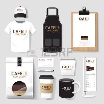 Вектор кафе-ресторан установлен флаера, меню, упаковка, футболки, шапки, Стандартный набор дизайн  макет корпоративного шаблона идентичности. photo