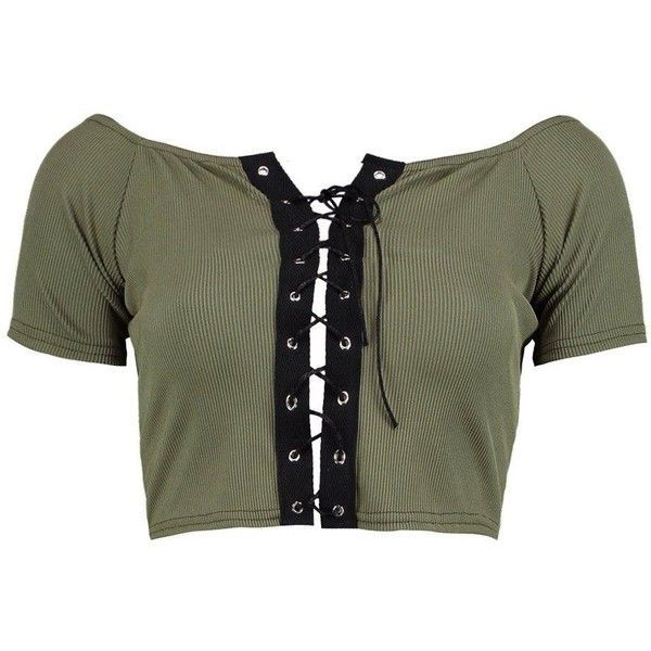 Boohoo Lily Lace Up Rib Crop Top ($20) ❤ liked on Polyvore featuring tops, bralet crop top, cami crop top, off the shoulder tops, ribbed crop top and bralette tops