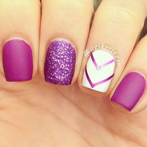 Purple and White Nails with Chevron Lines and Glitter Accent.