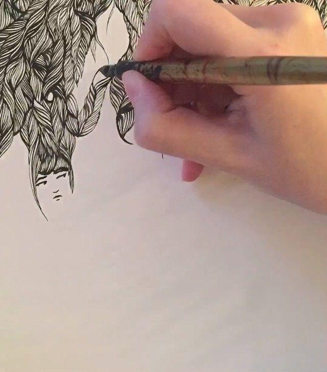 Ashya Lane-Spollen Timelapse video - Here we go...! #resolve #ink #illustration #illustrator #art #draw #drawing #quill #women #woman #girl #hair #sleep #dream #surreal #blackandwhite #irish #french #france #ireland #wild #love #live #artlife #artblog #artblogger #timelapse #video