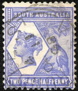 "South Australia 1895 Scott 107 2½d blue violet ""Kangaroo, Palm"""