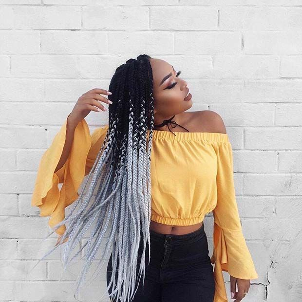 Shades Of Gray Ombre Box Braids Braids For Black Hair Box Braids Hairstyles Cool Braid Hairstyles