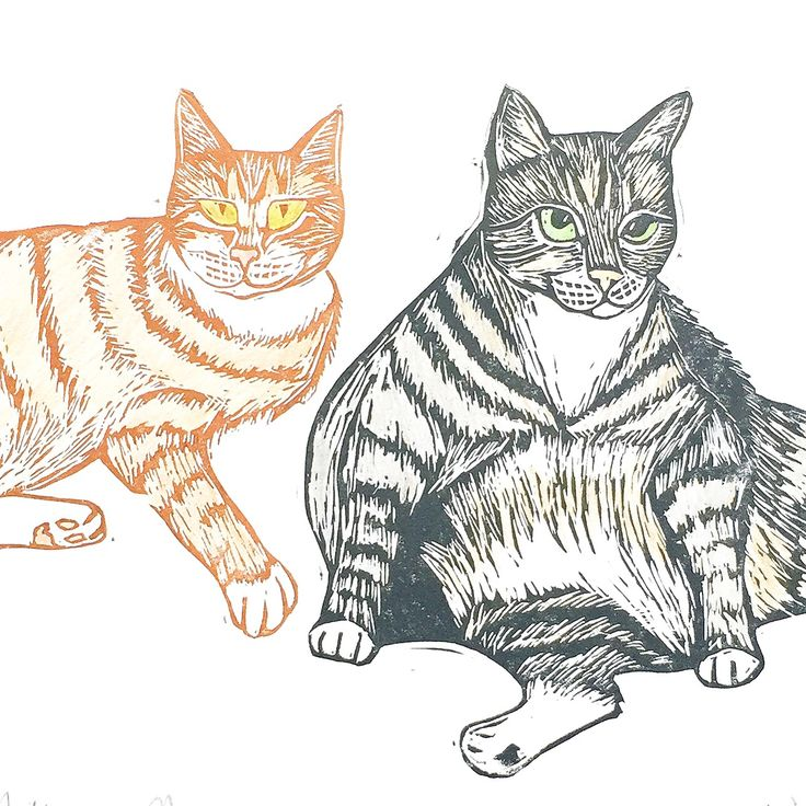 Custom Pet Portrait Cat Portrait Lino Cut Lino Print - The Black Pug Press