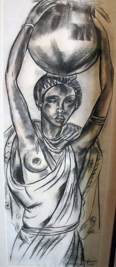 Woman with Pot (1927) Charcoal, Irma Stern, Irma Stern Museum