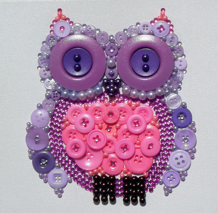Olive Owl in Lilac and Pink. This is a 20x20cm canvas embellished with buttons, pearl & acrylic beads, rhinestones and finished with a gloss varnish.
