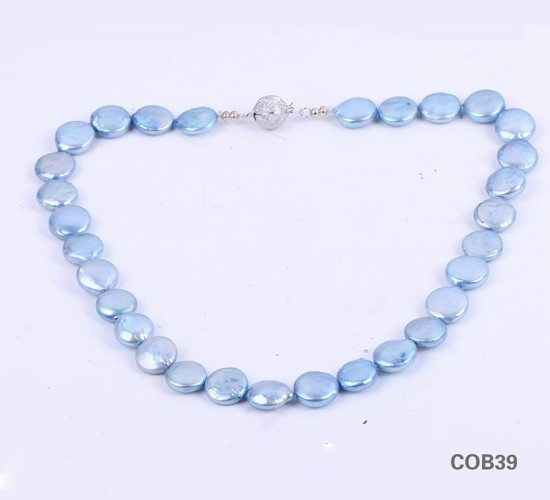 $7.95  Freshwater Blue Flat Balls Pearl Sterling Silver Clasp Jewellery Necklace