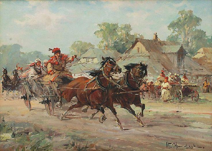 Władysław CHMIELIŃSKI (1862-1941)  Wesele krakowskie olej, tektura; 25,5 x 35,5 cm;
