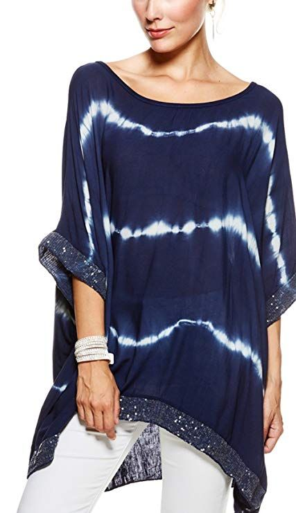 503178230e904d Sevello Clothing Ladies Womens Italian Lagenlook tie dye Sequin Trim Baggy Top  Short Sleeve Sequin Hem Kaftan Tunic Top Blouse One Size Plus UK 12-20 UK  ...