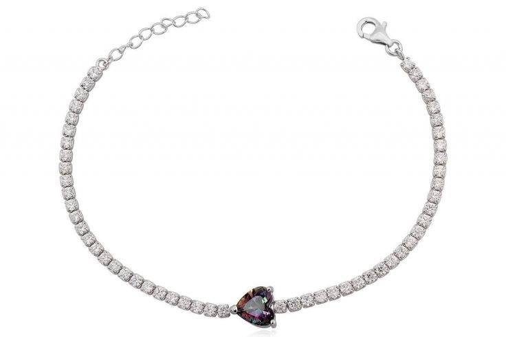 Zilveren Armband met Zirkonia en hartvormige mystieke Topaas