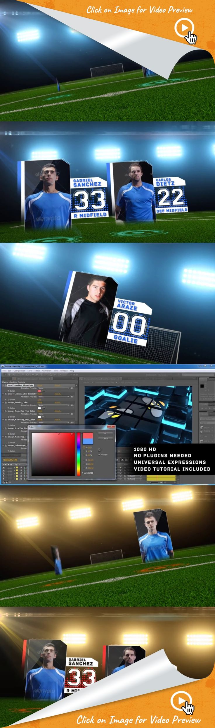espn, field, football, futbol, goal, league, pitch, placeholders, screens, soccer, sports, stadium, starting lineup, team, world cup, after effects templates, after effects ideas, after effects motion graphics, after effects projects, videohive projects             Give your Soccer Team a powerful and memorable introduction with Soccer Starting Lineup! This template offers 11 placeholders for your starting lineup.   The lineup is a 4-4-2 formation.  Comes with a Team Logo Intro Transition…
