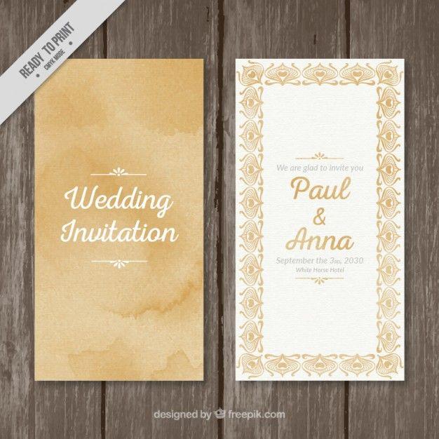 92 best freepik images on pinterest bridal invitations free orange watercolor wedding card with vintage ornaments stopboris Gallery