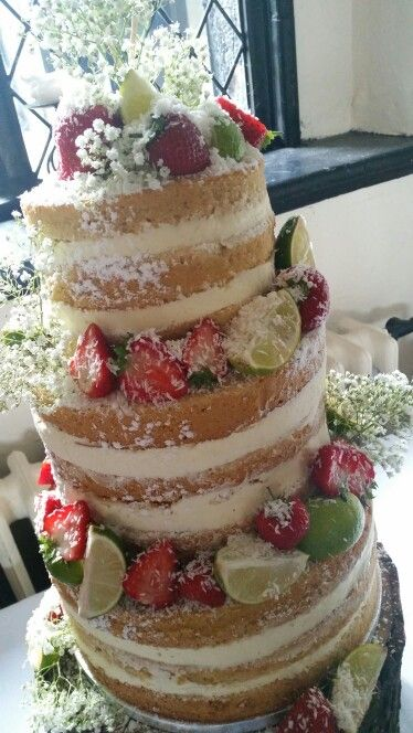 Lime and coconut naked wedding cake