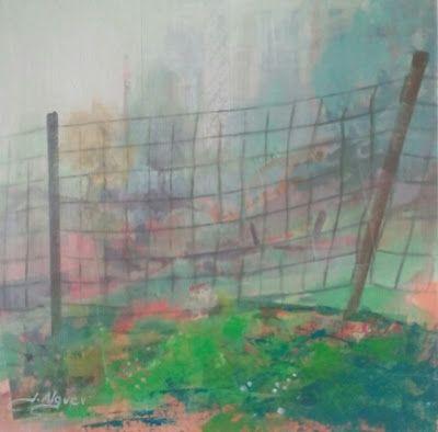 Urbana Rustica XXXV - Niebla en el monte aleman /  Collage + Acrilico  /  30 X 30 cm.