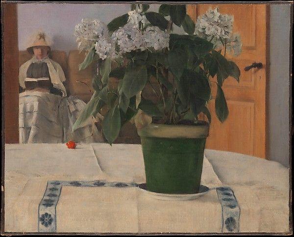 rinceau anthemion #Goguryeo mural painting and Fernand #Khnopff (Belgian, Grembergen 1858–1921 Brussels), Hortensia, 1884, Oil on canvas, 18 13/16 × 23 1/2 in. (47.8 × 59.7 cm), The Metropolitan Museum of Art.  忍冬唐草文인동당초문, 江西大墓강서대묘 Large-sized Tomb in Gangseo, Goguryeo 6c, 평안남도 강서군 (keter) 진파리 1호무덤 真坡里1号墳, Tomb No. 1 in Jinpa-ri, 6세기 중엽, 평양시 력포구역 룡산리 제령산 서쪽 기슭 (구, 평남 중화군 무진리 진파동, 중화군 진파리)