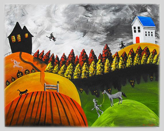 """Hilly Haven"" Original 16x20 Halloween Folk Art Acrylic Painting by treehugginlovin"