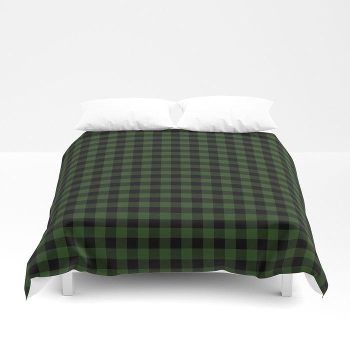 Dark Forest Green And Black Gingham Checkcom Duvet Cover Bed Bedding Homedecor Duvet Another Reason To Never Leave Y Duvet Covers Green Duvet Covers Duvet