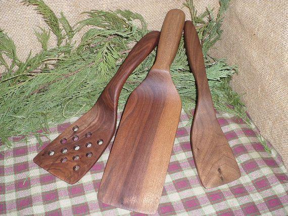Wood Spatula set of 3, Large spatula, Slotted, Right Handed, wood spatula, wooden spatula, Man sized spatula, food preparation