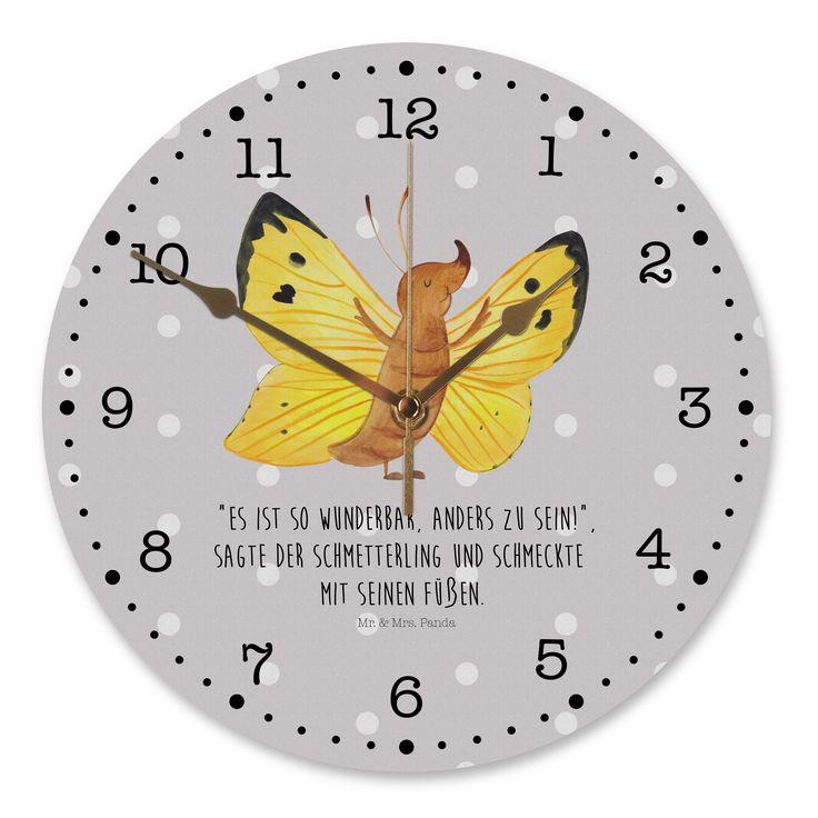 """30 cm Wanduhr Schmetterling Zitronenfalter aus MDF  Weiß – Das Original von Mr. & Mrs. Panda.  Diese wunderschöne Uhr von  Mr. & Mrs. Panda wird liebeveoll in unserem Hause bedruckt und an sie versendet. Sie ist das perfekte Geschenk für kleine und große Kinder, Weltenbummler und Naturliebhaber. Sie hat eine Grösse von 30 cm und ein absolut LAUTLOSES Uhrwerk.    Über unser Motiv Schmetterling Zitronenfalter  Unser Zitronenfalter freut sich des Lebens, ein Teil der """"Mr & Mrs Panda"""" Familie zu sein. Denn eines ist klar: er ist wunderbar anders und passt damit zum Rest der Familie.  Handgezeichnet in einem Livechat auf Instagram wurde der Schmetterling von Mrs Panda. Nun ist er bereit, bei dir einzuziehen.    Verwendete Materialien  Gefertigt aus widerstandsfähigem und hochwertigen Materialien    Über Mr. & Mrs. Panda  Mr. & Mrs. Panda – das sind wir – ein junges Pärchen aus dem Norden Deutschlands. In unserer Manufaktur fertigen wir, zusammen mit unserem leidenschaftlichen Team, unserer Produkte mit Leidenschaft und Hingabe. Die Motive werden von Mrs. Panda entworfen und gezeichnet und die Materialien sorgfältig von uns gemeinsam ausgewählt. So entstehen einzigartige Produkte, die ihres gleichen suchen. Wir legen großen Wert auf zufriedene Kunden und betreuen jeden Kunden persönlich und mit Herz.    Unser Produkt wird auch gesucht als:  Schmetterling, Schmetterlinge, Zitronenfalter, anders, Aussenseiter, Außenseiter, besonders, außergewöhnlich, Fakten, Fakt, zauberhaft, Motivierend, Motivation, Liebe, Selbstliebe, Selbstachtung, Wanduhr, Uhr, Kunderuhr, Kinderzimmer, Rund, Druck – Mr. & Mrs. Panda"""