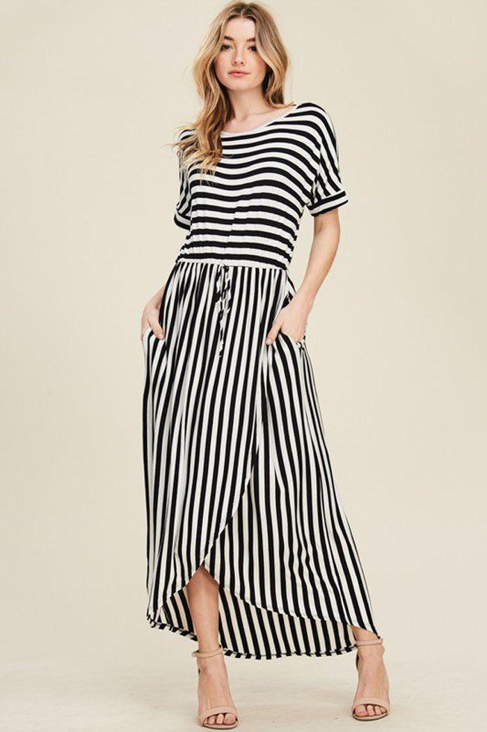 f0c17e3258ab4 Sydney Stripe Maxi Dress   Ivory Black in 2019
