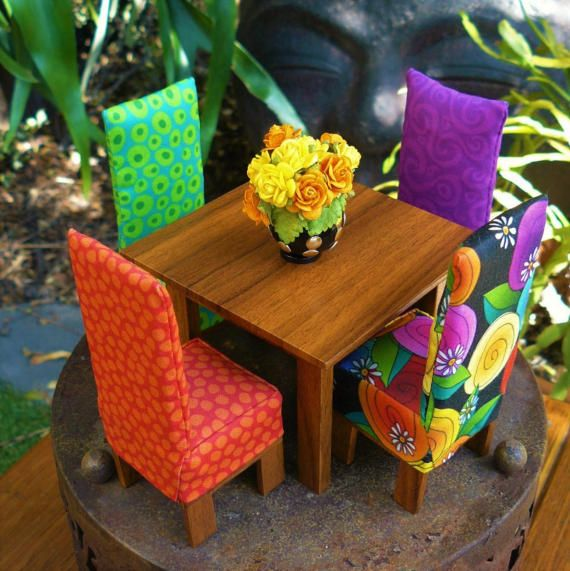 Huisje Design Fabric Covered Chairs  Miniature Dolls House