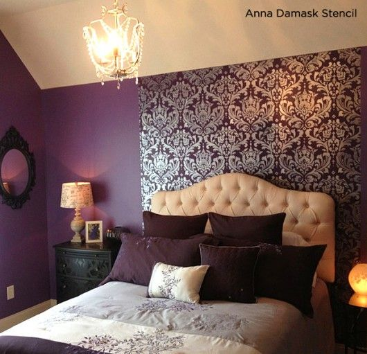 Love this! Deep Purple bedroom uses the Anna Damask Stencil as an accent to accentuate the headboard.