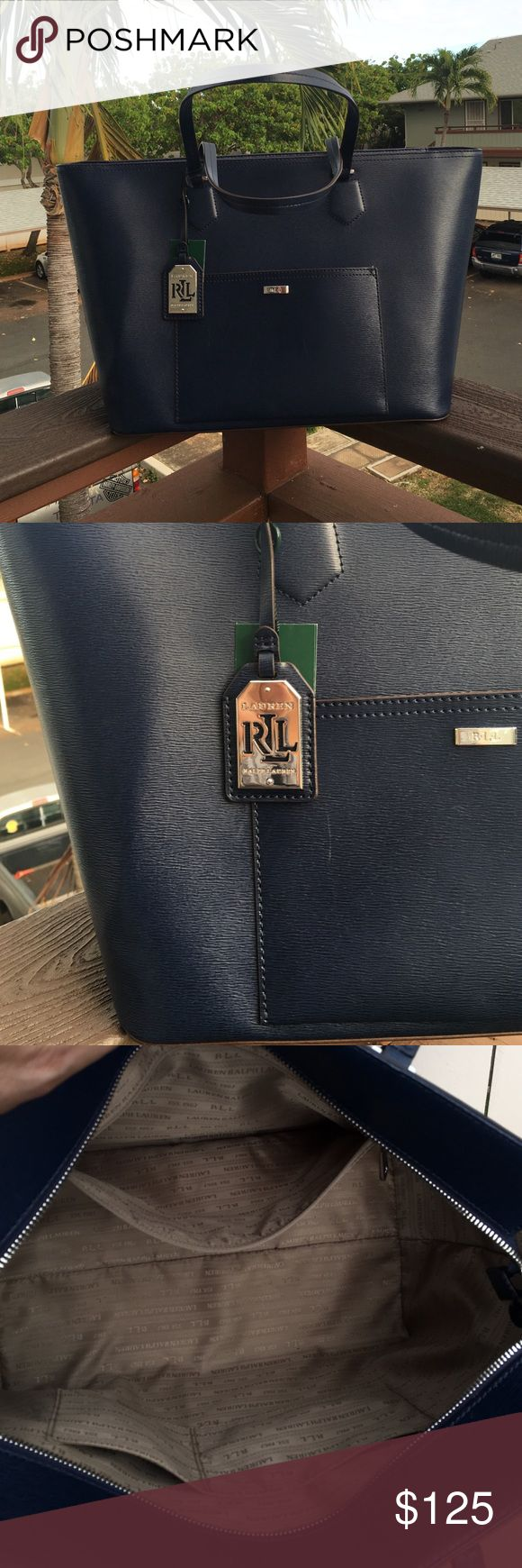 Ralph Lauren tote bag New with tag rich navy blues Ralph Lauren tote bag.  This bag features an exterior pocket and two interior pockets with a zipper pocket. Light scuffing see 2nd picture but hardly noticeable. Ralph Lauren Bags Totes