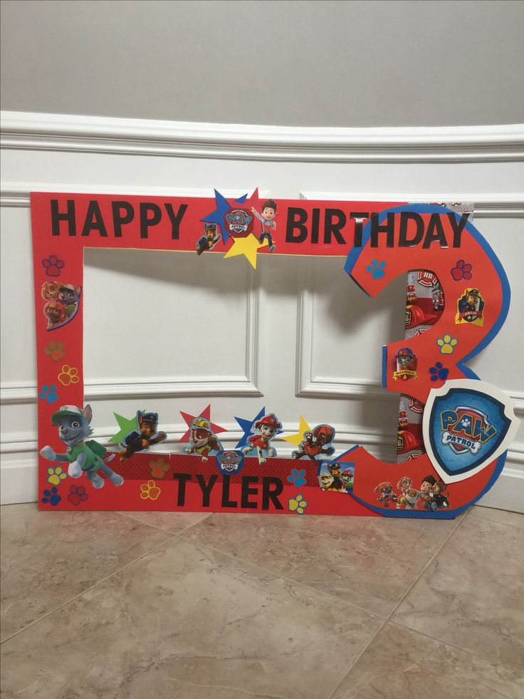 DIY Paw Patrol picture frame  Paw patrol party  ideas