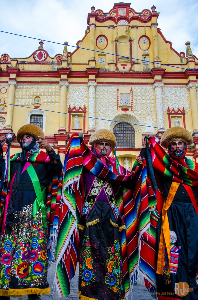 The Parachico dancers . Catedral de San Cristóbal de las Casas . Mexico