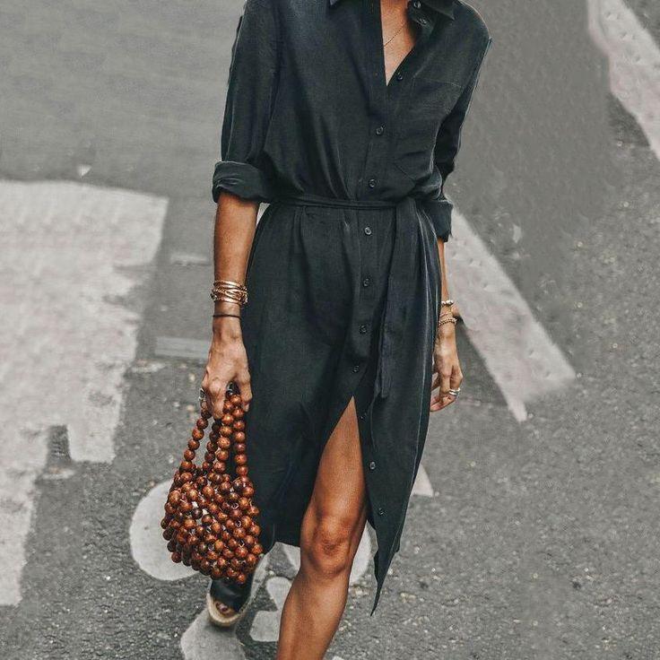 Fashion Button Down Collar Slit Casual Dress