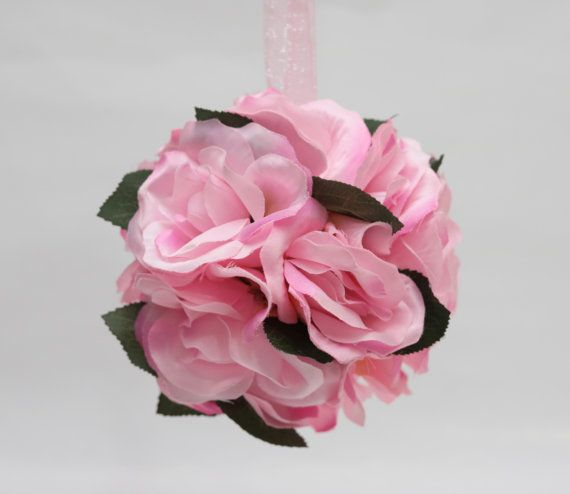 6 Pieces pink rose kissing ball/pomander by AliceThorWeddings