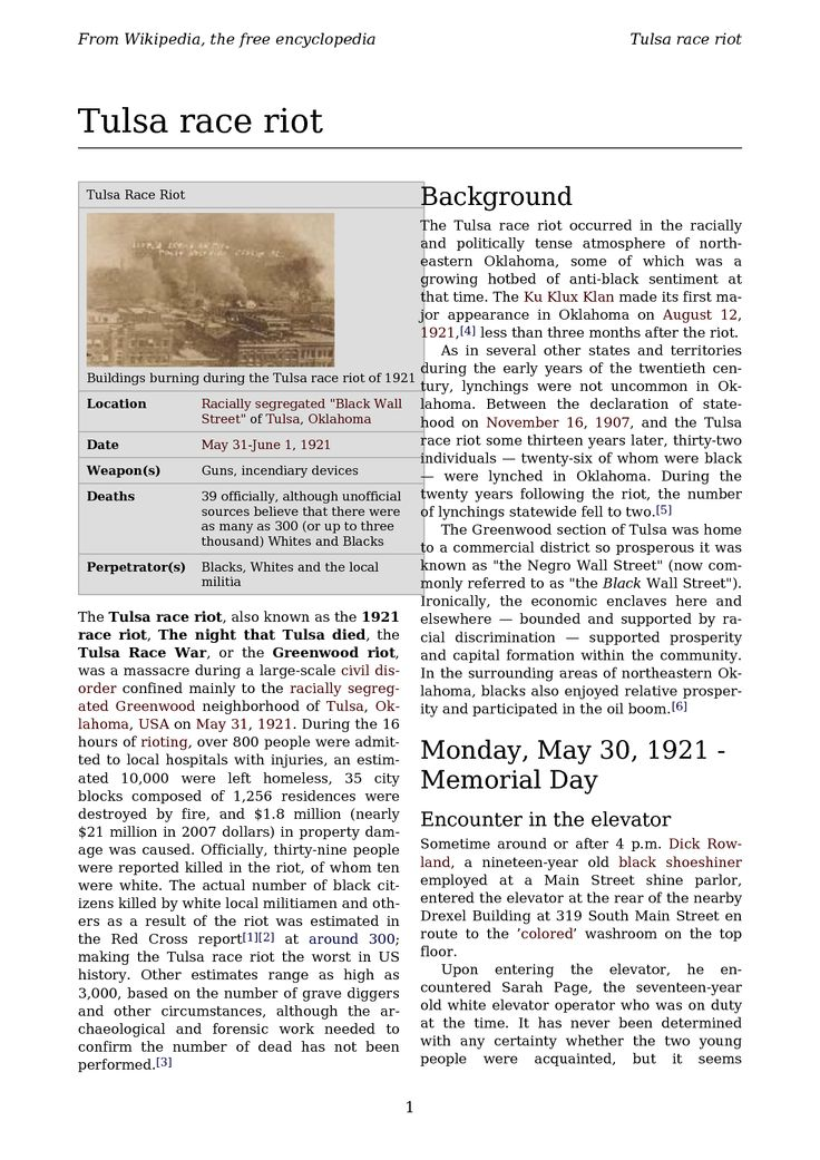 the tulsa race riots of 1921 history essay This essay greenwood district before the riots and other 64,000  mention whatsoever of the tulsa race riot of 1921,  reference or american history.