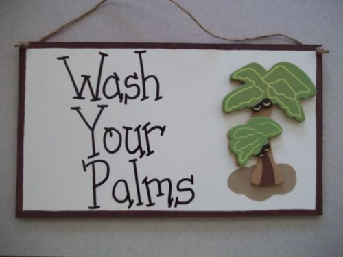 Palm Tree Bathroom Sign Wash Your Palms Tropical Beach Reminder Wash Hands New | eBay