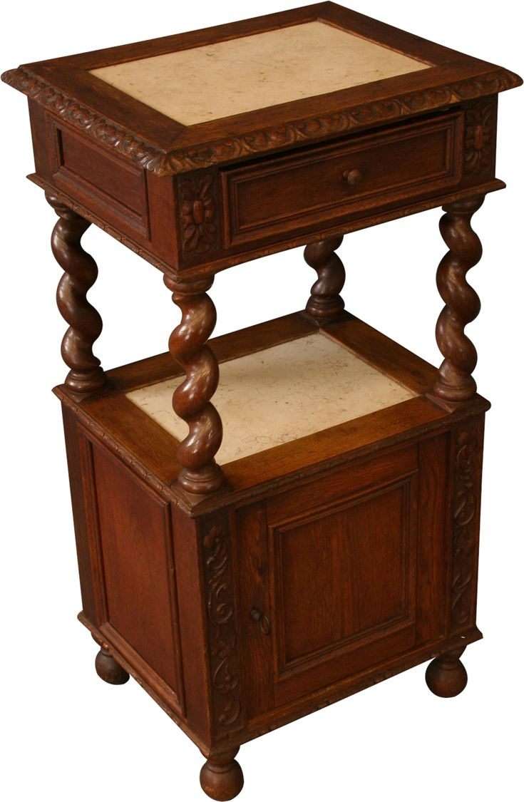Antique Nightstand French Renaissance Hunting Bedside Table 1890, Carved Oak #French #Furniture #Oak #Nightstand #Hunting #Antique #Vintage