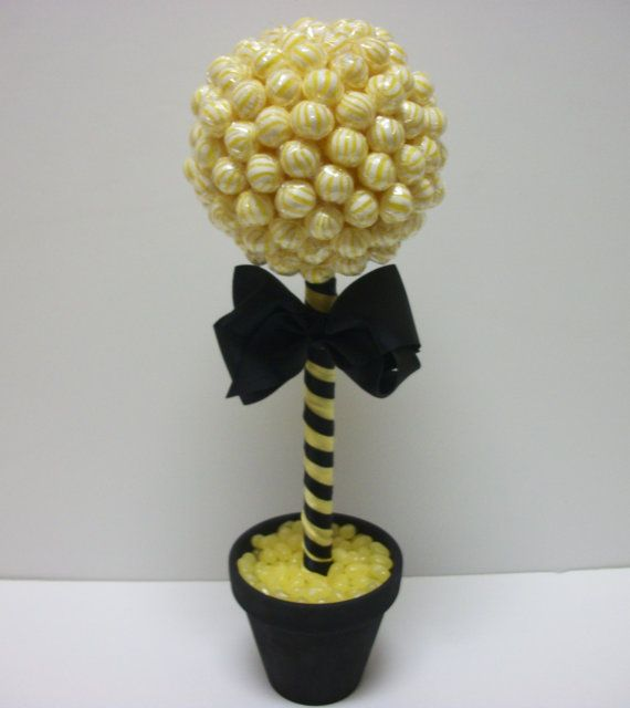Click here for more lollipop bouquets, arrangements and more! Small Lollipop Topiary Bumblebee Theme by EdibleWeddings on Etsy, $34.99. Bumblebee Theme, yellow, black Lollipop, Topiary, Tree, Jelly beans, Birthday, Wedding, Rehearsal Dinner, Bridal Shower, Baby Shower, Custom, Customized