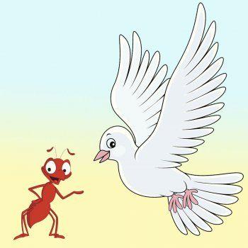 La paloma y la hormiga. Fábulas para niños con mensaje. Cuentos cortos de animales con moraleja para educar a los niños y aficionarles a la lectura. Fábulas con moraleja.